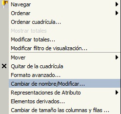 Modo Interactivo - Opciones disponibles en tabla